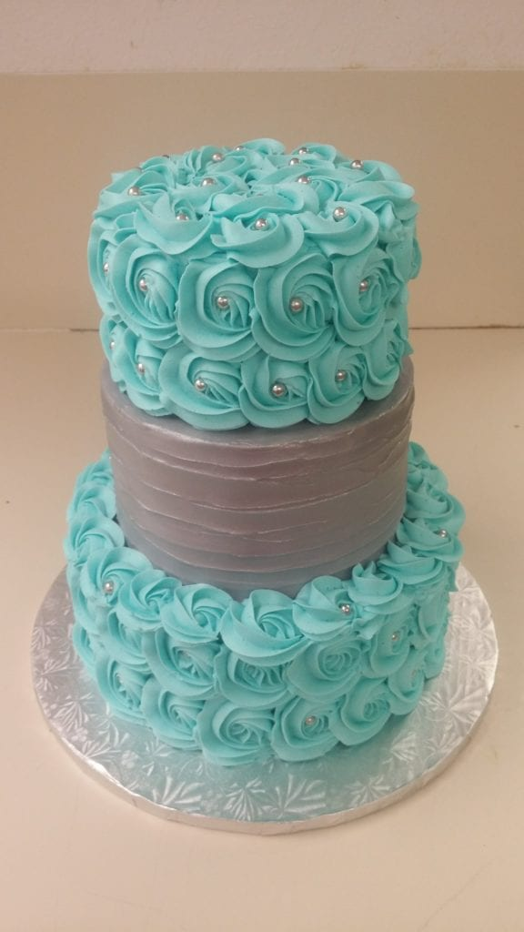 Silver and Turquoise Wedding Cake